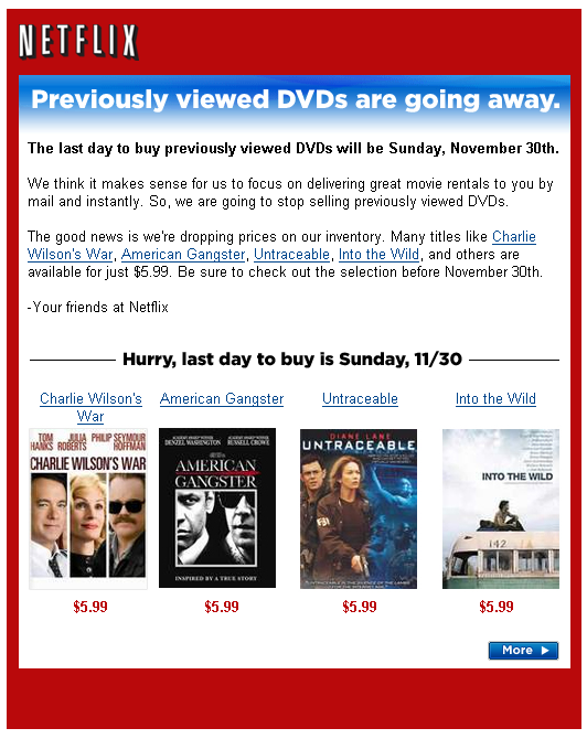 Previously Viewed DVDs won't be around for long…