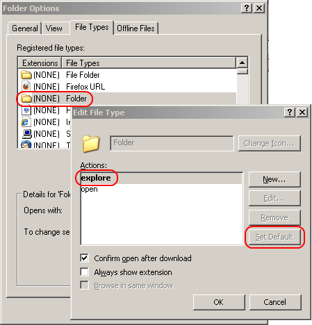 Win XP / 2003 File Explorer: how to have the folder tree show by default